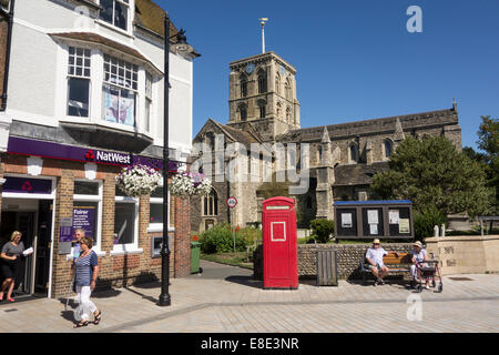 street in small English town of Shoreham near Brighton in county of Sussex on the south coast of Southern England - Stock Photo