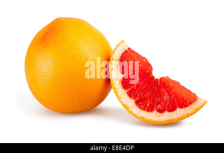 Ripe grapefruit isolated on white background - Stock Photo