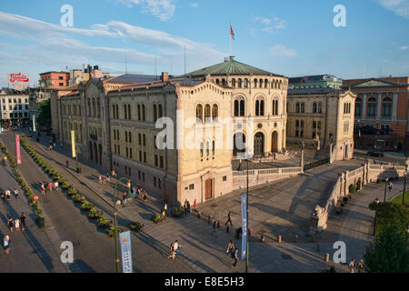 View of the Stortinget Norwegian Parliament Building in Oslo, Norway - Stock Photo