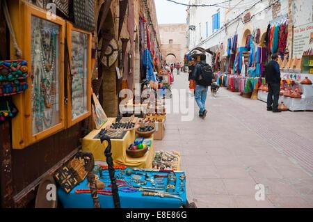 Horizontal view along Rue de la Skala in Essaouira. - Stock Photo