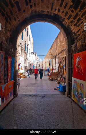 Vertical streetscene in Essaouira - Stock Photo