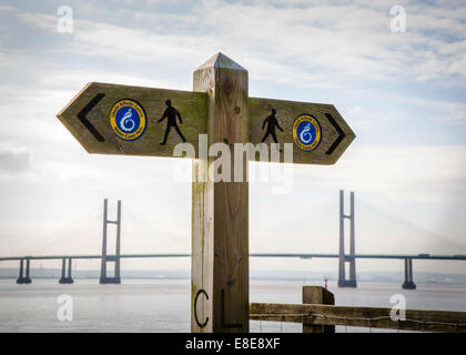 Mirror image sign post on the Wales Coast Path long distance national trail close to the New Severn Crossing Wales - Stock Photo