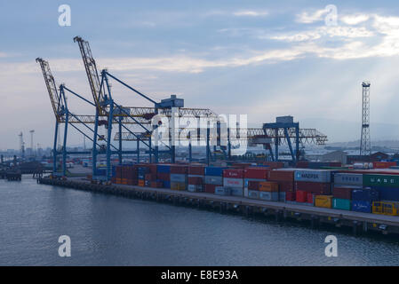 Gantry cranes and shipping containers at Belfast docks UK - Stock Photo