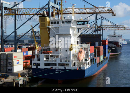The container ship India docked at the Port of Belfast Northern Ireland UK - Stock Photo