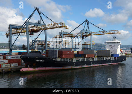 The container ship Pengalia docked at the Port of Belfast Northern Ireland UK - Stock Photo