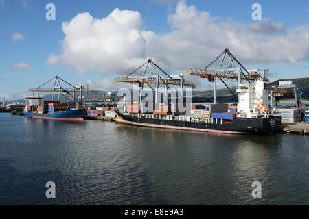 Two container ships docked at the Port of Belfast Northern Ireland UK - Stock Photo