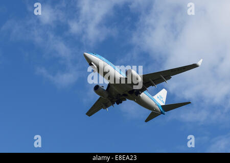 Royal Dutch Airlines KLM Boeing 737 aircraft on the final approach to Manchester Airport UK - Stock Photo