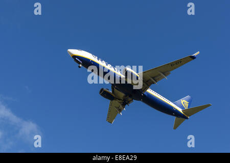 Ryanair Boeing 737 aircraft on the final approach to Manchester Airport UK - Stock Photo