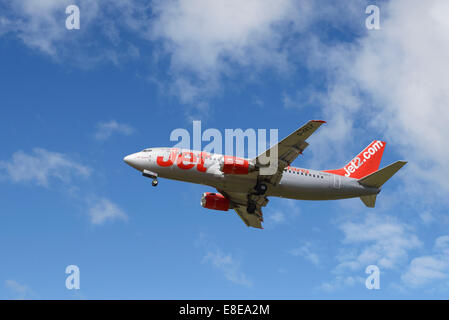 Jet2.com Boeing 737 aircraft on the final approach to Manchester Airport UK - Stock Photo