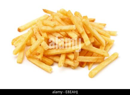Heap of fried potato chip sticks isolated on white - Stock Photo