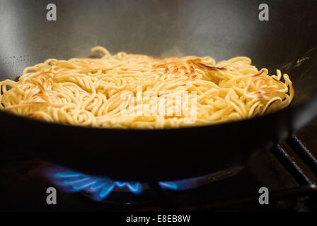Fried Chicken Egg Noodles - Stock Photo