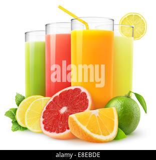 Fresh citrus juices isolated on white - Stock Photo