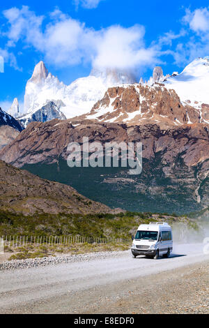 Touristic car on road in Fitz Roy Mountain Range, Los Glaciares National Park, Argentina. - Stock Photo