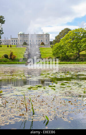 Enniskerry, Ireland - May 11, 2014: Fountain of the Triton Lake in the Italian Garden at Powerscourt State - Stock Photo