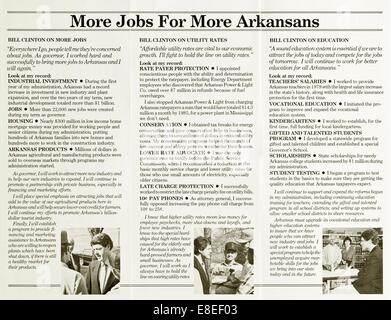 Bill Clinton's 1982 reelection campaign single-page leaflet for Governor of Arkansas - Stock Photo