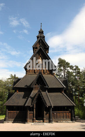 Historic Gol Stave Church at the Norwegian Folk Museum in Oslo - Stock Photo