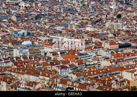 On overview of Marseille from the Notre Dame de la Garde basilica. - Stock Photo