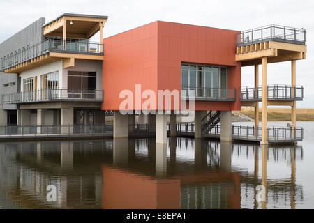 The Environmental Education and Ethics Centre, a LEED Gold Standard building with water treatment wetland in Ralph - Stock Photo