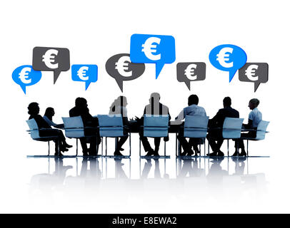 Silhouettes of group of business people discussing Euro around the conference table in white background. - Stock Photo
