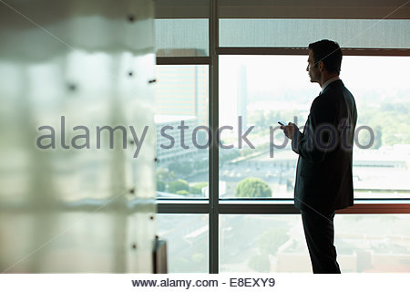 Silhouette of businessman using cell phone - Stock Photo