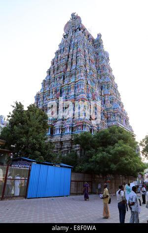 Meenakshi Amman Temple ,Meenakshi Sundareswarar Temple, Tiru-aalavaai,  Meenakshi Amman Kovil, Madurai, Tamil Nadu, - Stock Photo