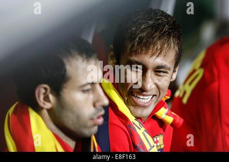 Neymar and Mascherano during 'Copa del Rey' between FC Cartagena vs FC Barcelona - Stock Photo