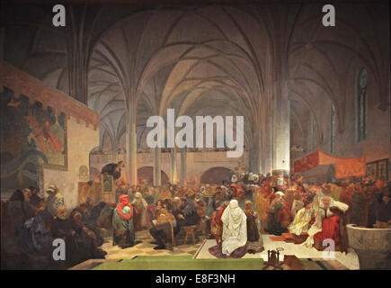 Master Jan Hus Preaching at the Bethlehem Chapel (The cycle The Slav Epic). Artist: Mucha, Alfons Marie (1860-1939) - Stock Photo