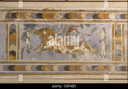Bull-Leaping (from the Palace Complex of Knossos). Artist: Bronze Age culture - Stock Photo
