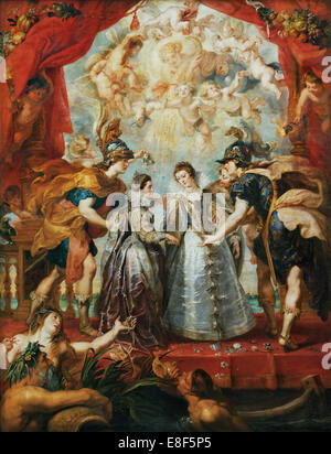 The Exchange of the Princesses at the Spanish Border. (The Marie de' Medici Cycle). Artist: Rubens, Pieter Paul - Stock Photo