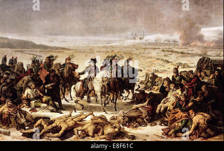 Napoleon on the Battlefield of Eylau, 9 February 1807. Artist: Meynier, Charles (1768-1832) - Stock Photo