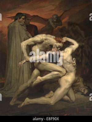 Dante and Virgil in Hell. Artist: Bouguereau, William-Adolphe (1825-1905) - Stock Photo