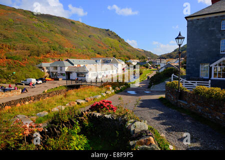 Boscastle village North Cornwall between Bude and Tintagel England UK on a beautiful sunny blue sky day - Stock Photo