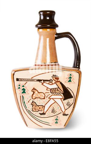 Ancient Wine Jug Isolated On White Background - Stock Photo