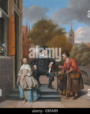 A Burgher of Delft and His Daughter (Adolf Croeser and his daughter Catharina Croeser). Artist: Steen, Jan Havicksz - Stock Photo