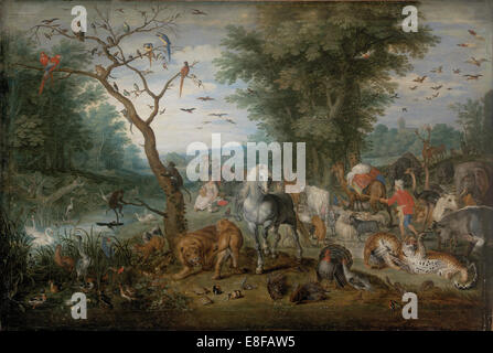 Paradise Landscape with Animals. Artist: Brueghel, Jan, the Younger (1601-1678) - Stock Photo