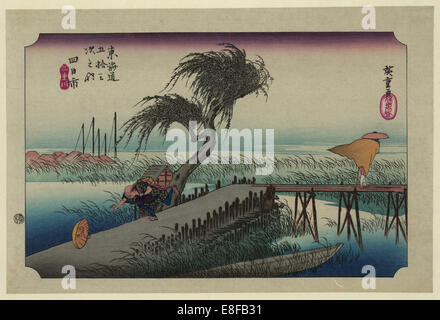 Yokkaichi (from the Fifty-Three Stations of the Tokaido Highway). Artist: Hiroshige, Utagawa (1797-1858) - Stock Photo