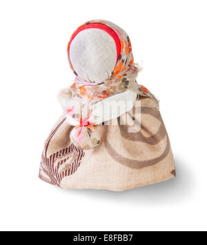 Podorozhnitsa - Russian traditional rag doll isolated on white - Stock Photo