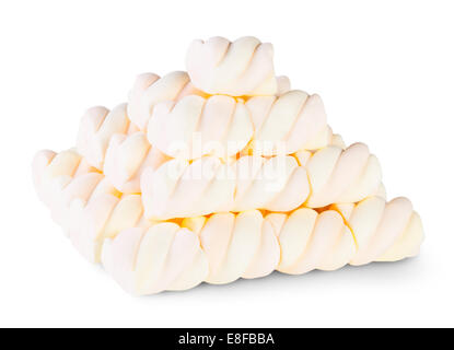 Pyramid The Spiral Marshmallow Isolated On White Background - Stock Photo