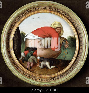 The Flatterers. Artist: Brueghel, Pieter, the Younger (1564-1638) - Stock Photo