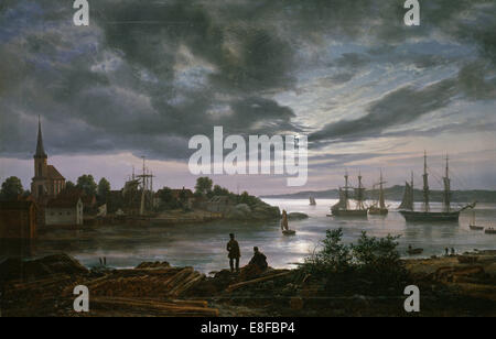 Larvik by Moonlight. Artist: Dahl, Johan Christian Clausen (1788-1857) - Stock Photo
