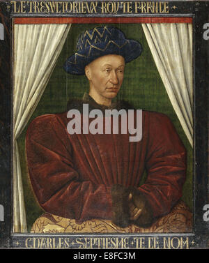 Portrait of the King Charles VII of France. Artist: Fouquet, Jean (1420–1481) - Stock Photo
