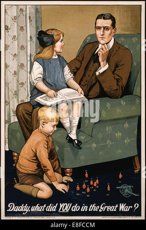British Parliamentary Recruiting Committee poster illustrated by Savile Lumley (1876-1960), 1915. See description - Stock Photo