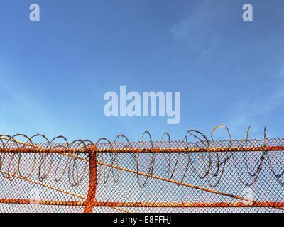 USA, California, San Francisco, Razor wire on Golden Gate bridge - Stock Photo
