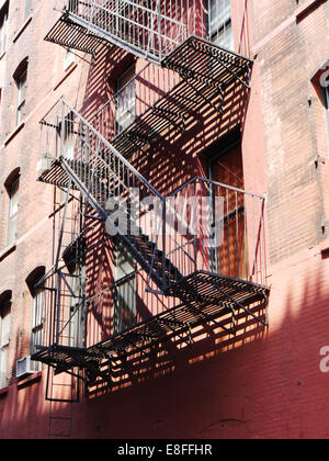 USA, New York State, New York City, Fire escape - Stock Photo