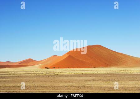 Sand dunes in desert, Sossusvlei, Namibia - Stock Photo