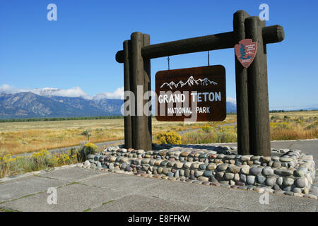 USA, Wyoming, Grand Teton National Park sign - Stock Photo