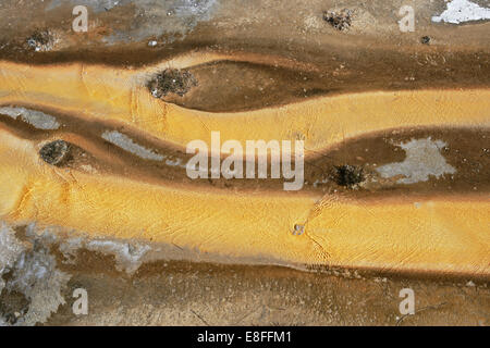 Close-up of mineral deposits, Yellowstone National Park, Wyoming, America, USA - Stock Photo