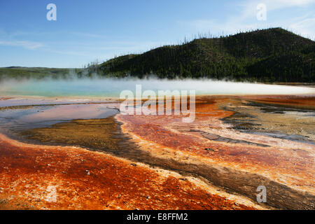 USA, Wyoming, Yellowstone National Park, View of hot spring - Stock Photo