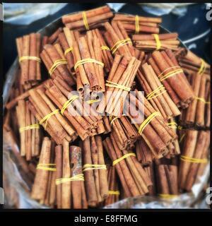 Cinnamon sticks for sale - Stock Photo