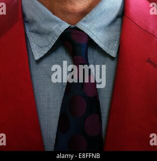 Close up of tie around man's neck - Stock Photo